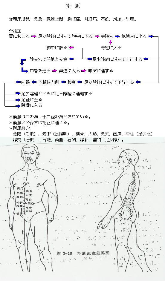 衝脈の流注図
